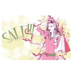 Surprised young woman with shopping bags vector image