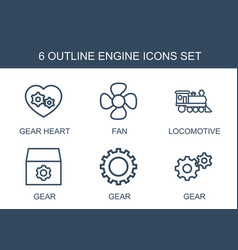 6 engine icons vector