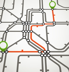 Abstract metro scheme with the selected path vector image