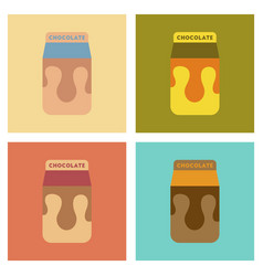 Assembly flat icons coffee chocolate package vector