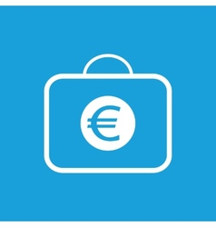 Bag with euro white icon vector image