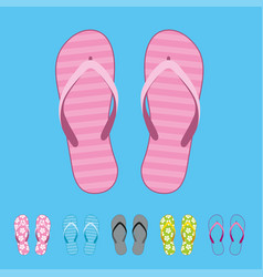 Beach flip flops summer trip vacation vector