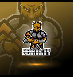 Bear army esport mascot logo vector