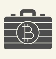 Bitcoin case solid icon portfolio with crypto vector