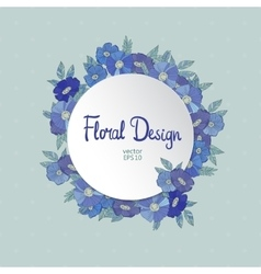 Blue floral border made with wildflowers vector image