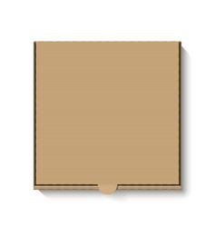 Brown cardboard pizza box top view vector