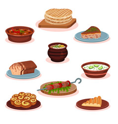 Bulgarian cuisine national food dishes set vector