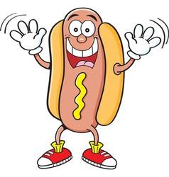 Cartoon hotdog waving vector image