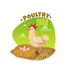 chicken emblem vector image
