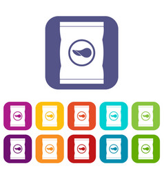 chips plastic bag icons set flat vector image