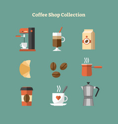 coffee shop icon collection vector image