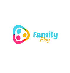 Colorful happy family holding hands logo funny vector