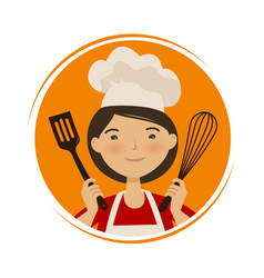 Cooking cuisine logo cute girl in chef hat vector