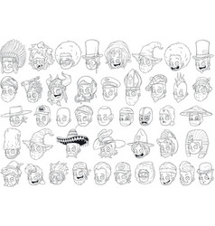 cool different cartoon black and white characters vector image