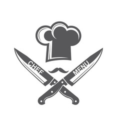 crossed knives and chef hat with mustache vector image