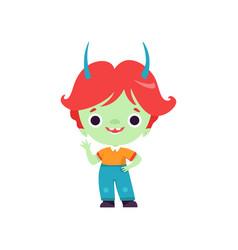 Cute horned troll boy happy fantasy creature vector