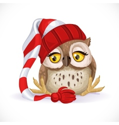 Cute owlet in a cap sits and wants to sleep vector