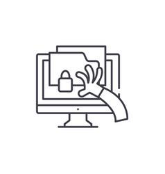 cyber crime line icon concept cyber crime vector image