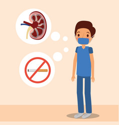 Doctor surgeon kidney and prohibited tobacco vector