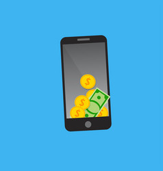 dollars on smartphone screen vector image