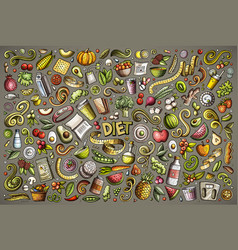 Doodles cartoon set of diet food objects vector