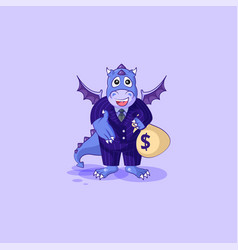 Dragon in business suit extend hand to offer deal vector