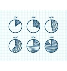 drawn feltip pen pie chart icons set vector image
