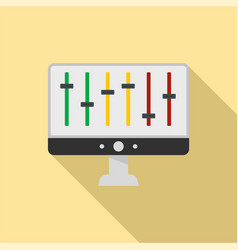 equalizer on monitor icon flat style vector image