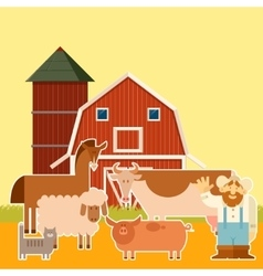 Farm banner with flat animals vector