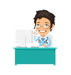 Female doctor talking on phone vector