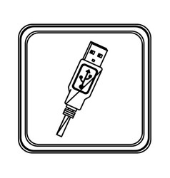 figure emblem pendrive icon vector image