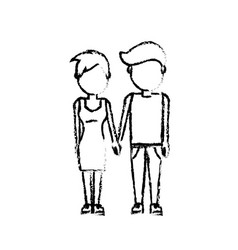 Figure nice couple with hairstyle design vector
