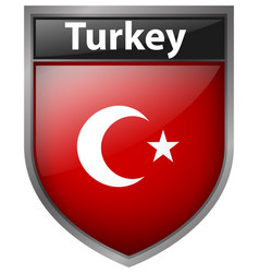 Flag on turkey on badge design vector