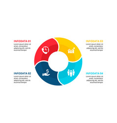 flat circle element for infographic with 4 vector image