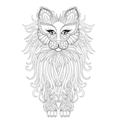 Fluffy Cat zentangle vector
