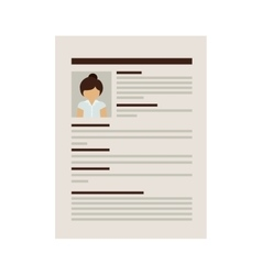 Front document with woman curriculum vitae vector