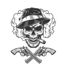 gangster skull wearing fedora hat vector image