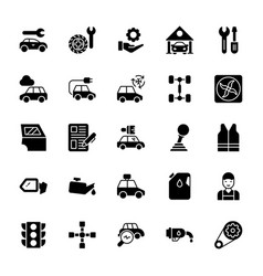 Garage glyph icons vector
