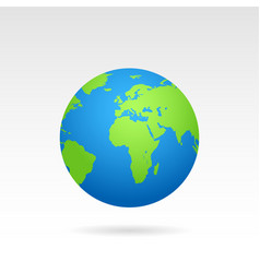 globe earth map with shadow on a white background vector image