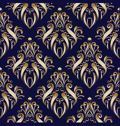 Gold damask floral seamless pattern flourish vector