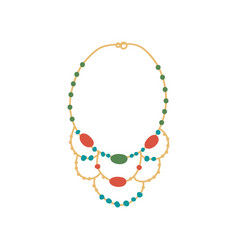 Golden necklace with gemstones fashion jewelry vector