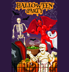 Halloween for autumn night party banner vector