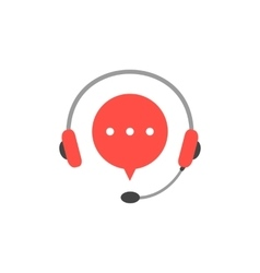 Headphone with microphone and red speech bubble vector
