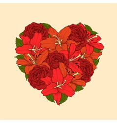 Heart decorated by flowers roses and lilies vector