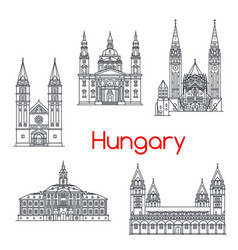 Hungary famous architecture landmark icons vector