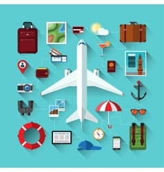 Icons set of traveling on airplane Travel objects vector image