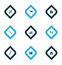 industrial icons colored set with drawing set vector image