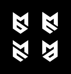 Initial letter mb bm me em mc cm ma md logo vector