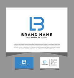 Initials lb logo with a business card vector