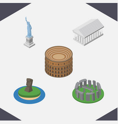 Isometric cities set of coliseum new york athens vector